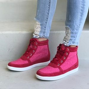 Red Lace-up High Top Hidden Wedge Sneakers